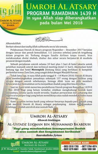 Umroh al Atsary mei 2018