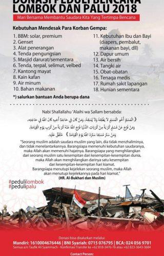 donasi peduli bencana sulsel dan lombok